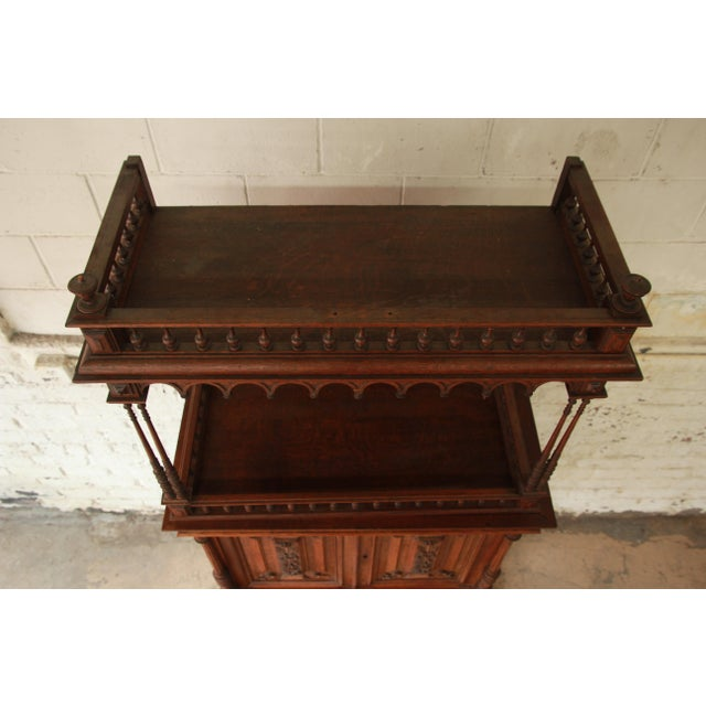 Antique Carved Oak Tall French Bar Cabinet For Sale - Image 10 of 13