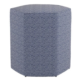 Hexagonal Ottoman in Navy Scattered Dot For Sale