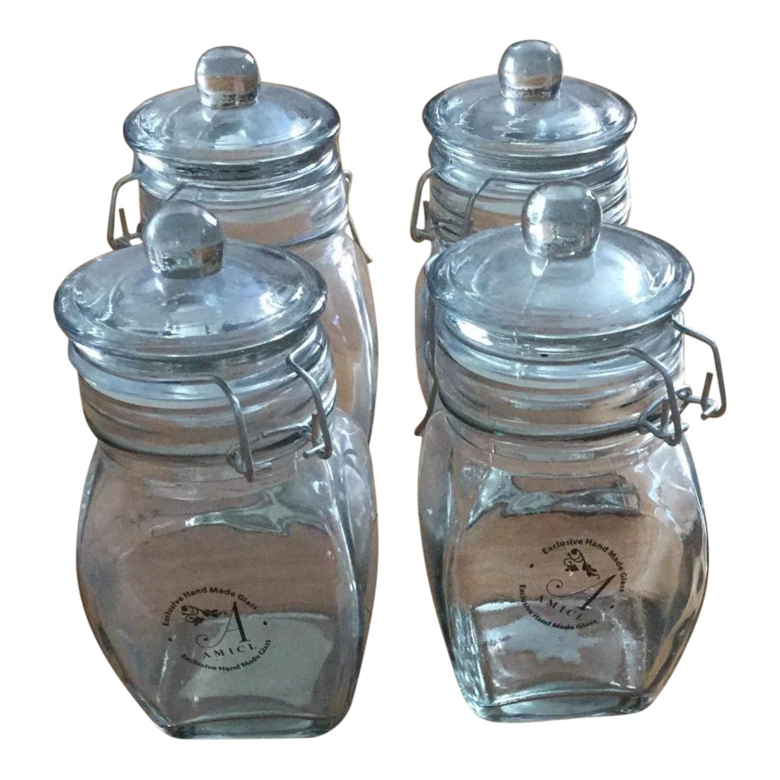 Global Amici Glass Jars - Set of 4 | Chairish
