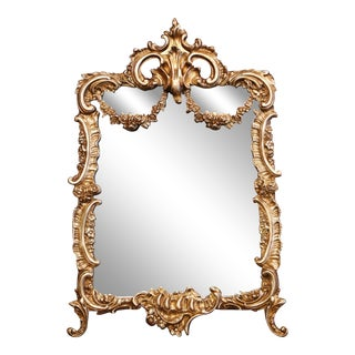 19th Century French Louis XV Gilt Bronze Free Standing Vanity Table Mirror For Sale
