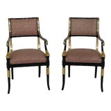Image of 1990s Hollywood Regency Black Lacquer & Gold Arm Chairs - a Pair For Sale
