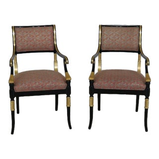 1990s Hollywood Regency Black Lacquer & Gold Arm Chairs - a Pair For Sale