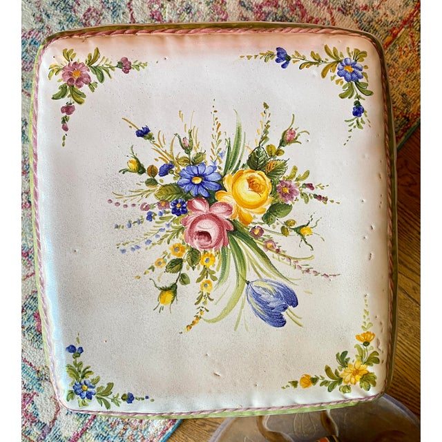Ceramic Italian Hand Painted Terracotta Garden Stool For Sale - Image 7 of 13