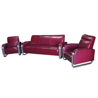 Art Deco Sofa Set by Kem Weber for Lloyd Chrome - 3 Pc. Set For Sale