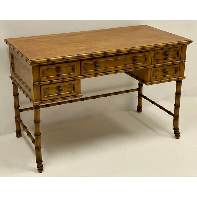 Faux Bamboo French Style Faux Bamboo Desk by Pulaski For Sale - Image 7 of 7