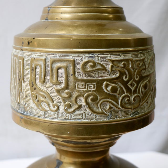 Mid-Century Chinese Brass Table Lamps - Pair - Image 6 of 9