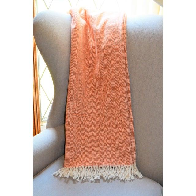 Cozy handmade Italian patone throw blanket in herringbone weave with cream tassel fringe. 100% cotton, size 50X70. Warm...