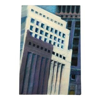 Vintage 80s Abstract Geometric Acrylic Modern Art Monoprint by Mariko Nutt For Sale