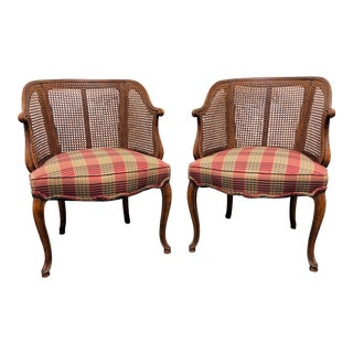 French Country Style Caned Barrel Chairs - Pair For Sale