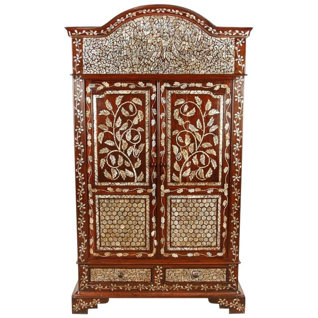 Colonial Rosewood Cabinet with Mother-of-Pearl For Sale