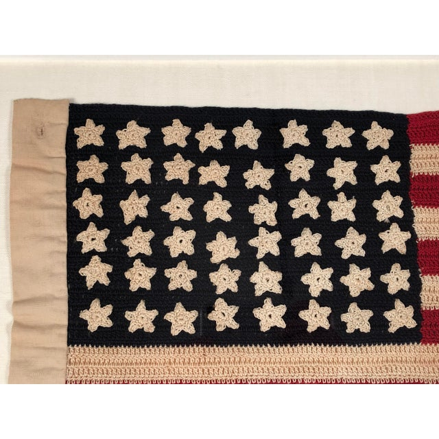 Small Vintage Hand Crocheted American Flag For Sale - Image 10 of 12