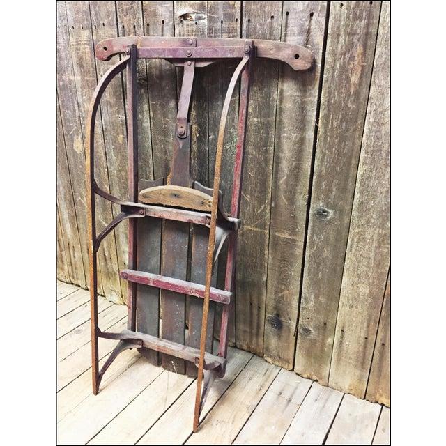 Vintage Weathered Wood & Metal Runner Sled - Image 10 of 11