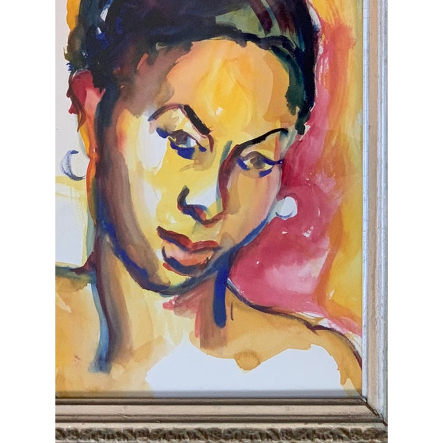 """Original 1970's Vintage Watercolor Ethnic Female Figure Painting. 9"""" x 12"""" Overall size in Antique Frame: 15"""" x 17"""""""