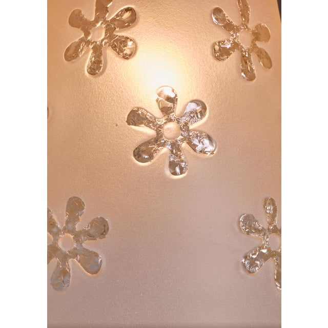 Mid-Century Modern Frosted Glass Pendant with Flower Motif, Sweden, 1930s For Sale - Image 3 of 4