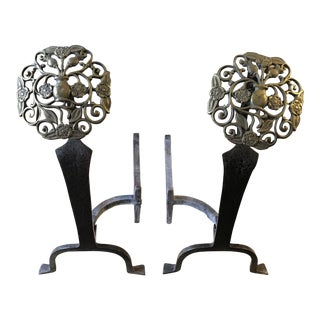 Mid 20th Century Victorian Style Brass Andirons - a Pair For Sale