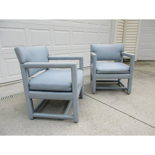 Late 20th Century Parsons Style Arm Chairs -A Pair For Sale - Image 6 of 13