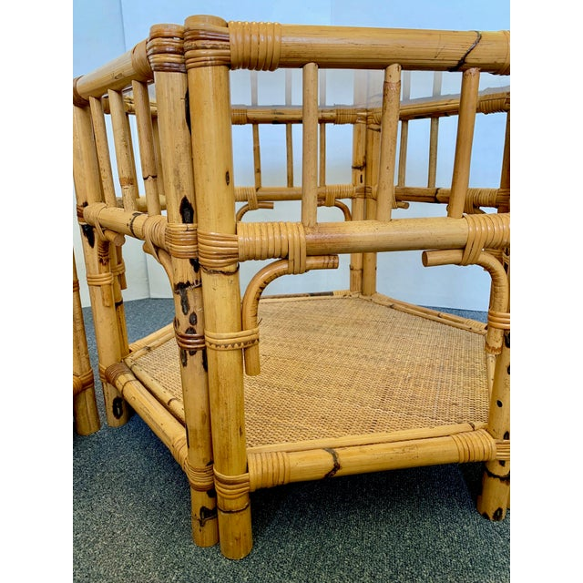 1960s Boho Chic Octagonal Rattan and Bamboo End Tables With Glass Tops - a Pair For Sale - Image 9 of 12