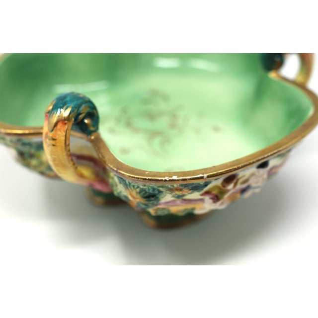 Vintage Italian Capodimonte Clover-Shaped Footed Bowl For Sale - Image 10 of 13