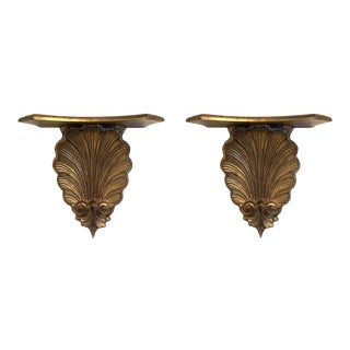 Pair of Italian Gold Gilt Shelves For Sale