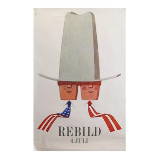 "1960's Original Danish Celebration Poster - ""Rebild 4 Juli"" - American & Dane For Sale"