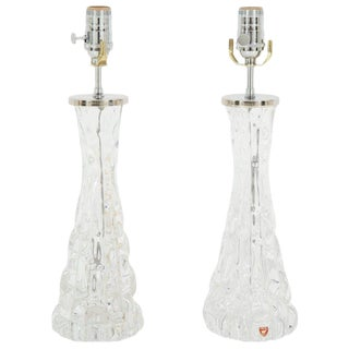 1960s Vintage Orrefors Crystal Lamps- A Pair For Sale