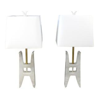 Mid Century Modern Pair White Alabaster Table Lamps Tempestini Lightolier Italy