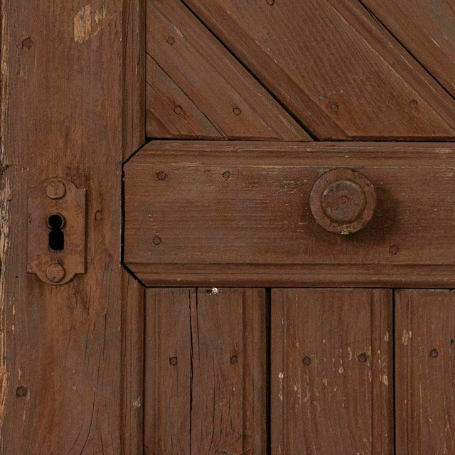 Antique Original Brown Painted Barn Doors - a Pair For Sale - Image 4 of 9