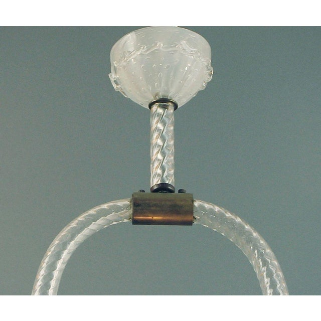 """Art Deco 1920s Italian Blown-Glass Murano """"Harp"""" Chandelier, Twisted Glass, Perfect Condition All Original For Sale - Image 3 of 5"""
