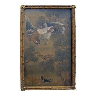 18th Century Chinoiserie Paintings on Silk With Gilt Bamboo Frames For Sale