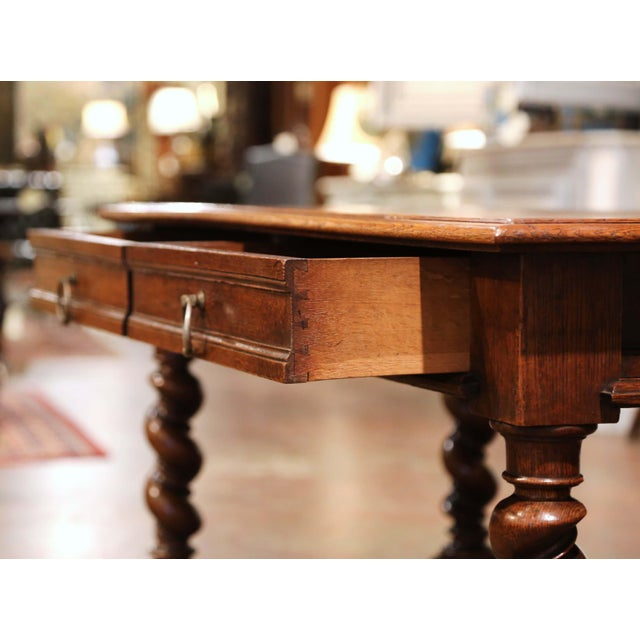 Brown 19th Century French Louis XIII Carved Oak Barley Twist Table Desk For Sale - Image 8 of 13
