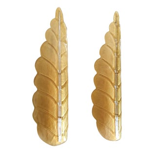 Pair of Large Leaf Murano Glass Mid Century Modern Sconces by Barovier, 1970s For Sale