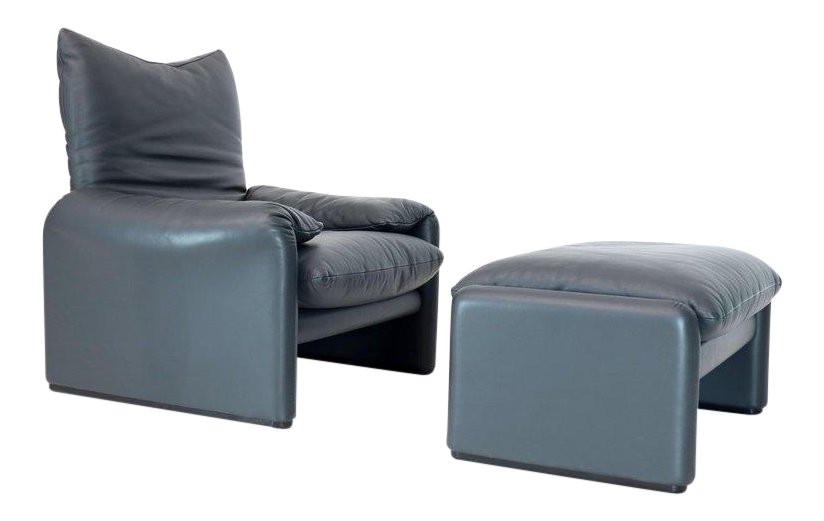 Maralunga Vico Magistretti Cassina Leather Lounge And Matching Ottoman For  Sale