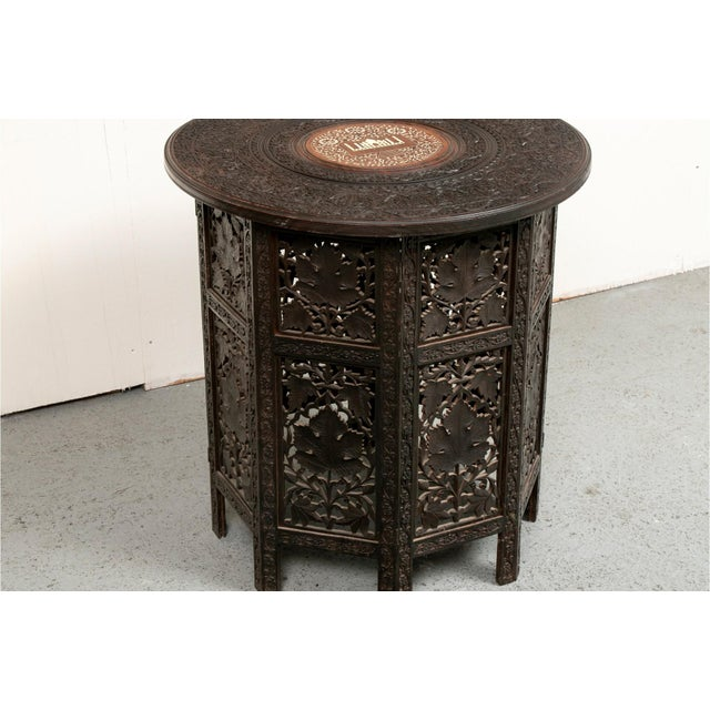 Early 20th Century Indian Bone Inlaid Octagonal Occasional Table For Sale - Image 4 of 10