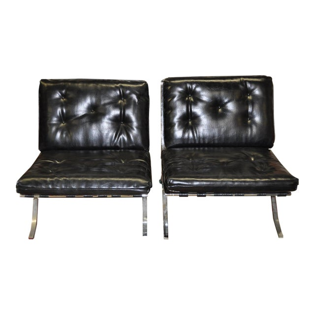 Barcelona Style Chrome & Leather Chairs - Pair - Image 1 of 8