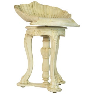 Sculptural Italian Neoclassical Carved and Painted Shell Swivel Stool