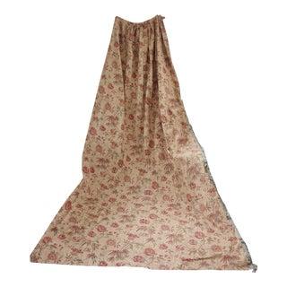 Antique 1890s French Floral Linen & Cotton Fabric Long Curtain W/ Trim For Sale