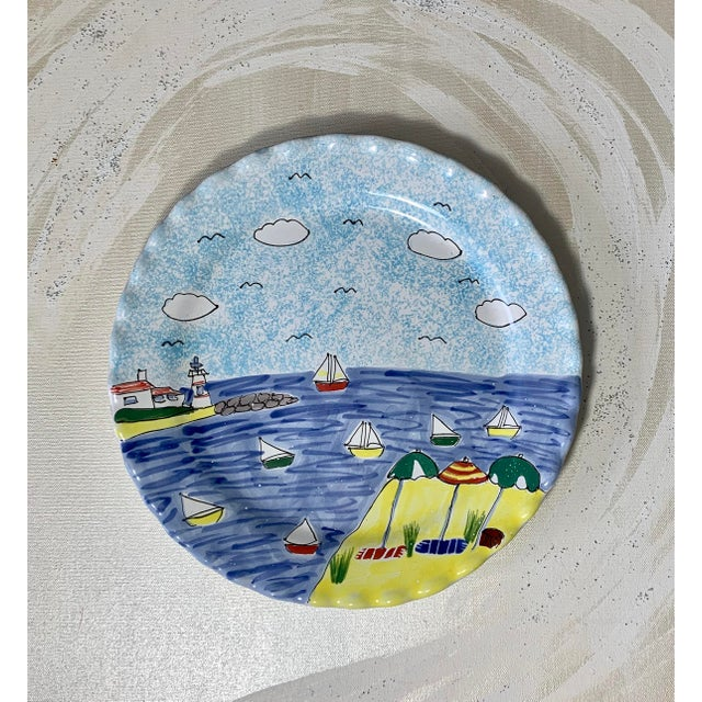 Traditional Hand Painted Scalloped Edge Nautical Cake Platter For Sale - Image 3 of 3