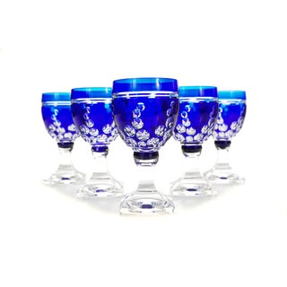 Bohemian Blue Cut Glass Goblets Glasses - Set of 4 For Sale