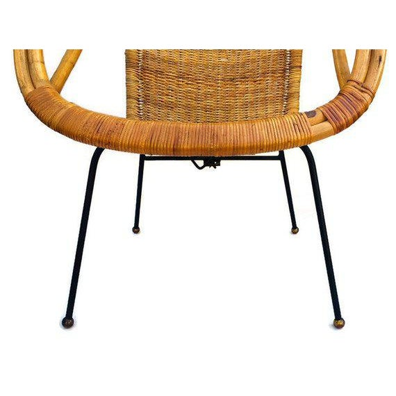 Metal Mid Century Rattan & Sculpted Bamboo Hoop Chair Cast Iron Legs For Sale - Image 7 of 11