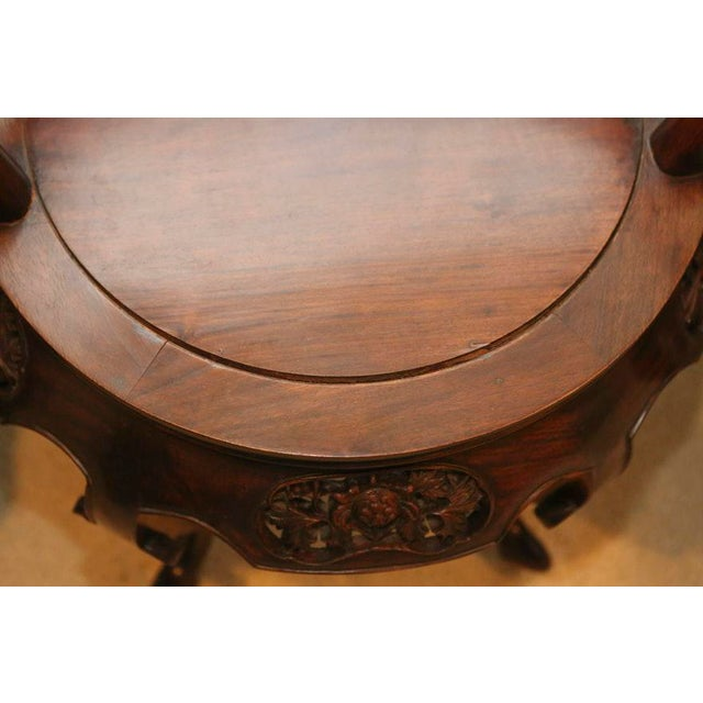 Chinese Ching Dynasty Influence Carved Sandalwood Chairs - a