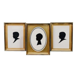 Mid-Century Male Portrait Silhouette Art Prints in Gold Metal Frames - Set of 3 For Sale