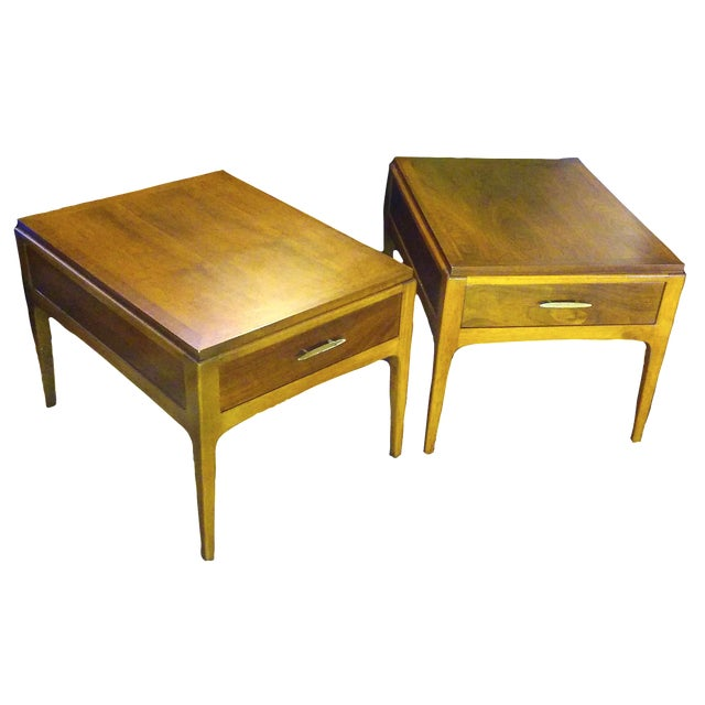 Lane Mid-Century Single Drawer End Tables - A Pair - Image 1 of 10