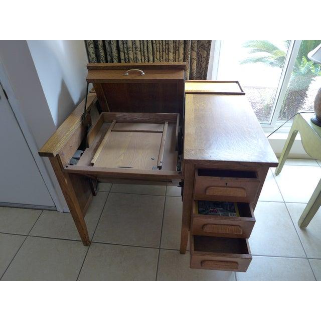 Solid Oak Secretary Desk For Sale - Image 4 of 7