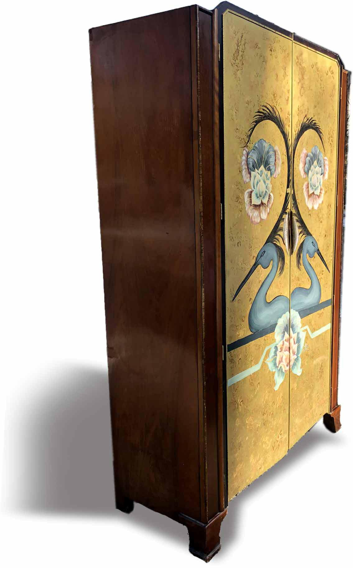 1930's Art Deco Bath Cabinet Makers Armoire With Hand Painted Scene