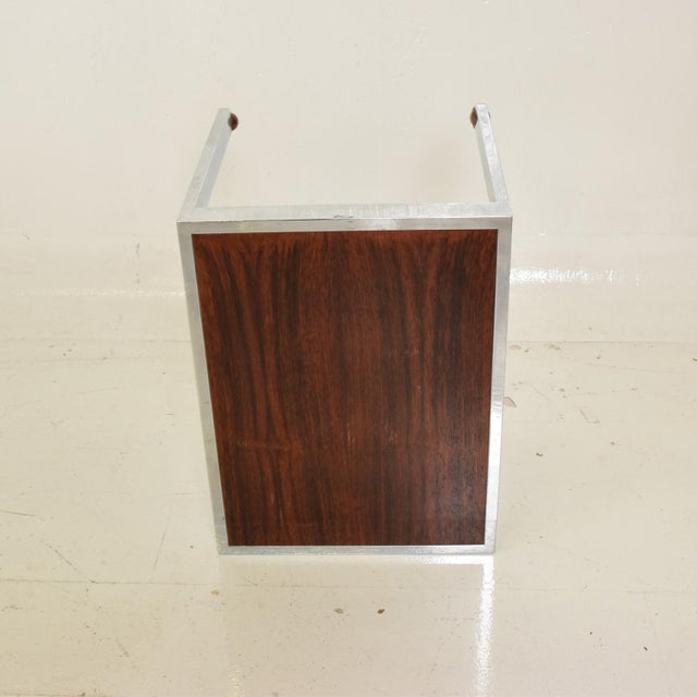 Scandinavian Danish Modern Side Table in Rosewood and Chrome For Sale In San Diego - Image 6 of 9