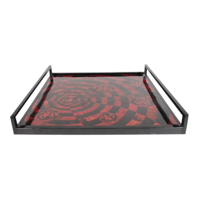 Handcrafted Mosaic Serving Tray in Lacquered Pen Shell For Sale