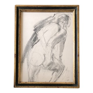 Vintage Original Female Nude Charcoal Study Drawing For Sale