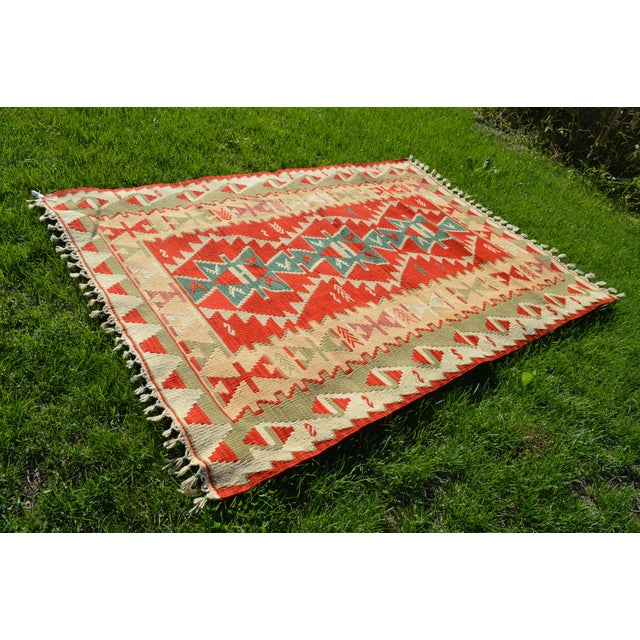 Islamic Handmade Kilim Geometric Design Cappadocia Red Color Kilim Rug - 3′11″ × 5′10″ For Sale - Image 3 of 8