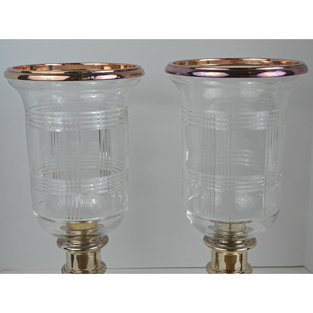 Vintage Ralph Lauren Cut Plaid Hurricane Candle Holders A Pair