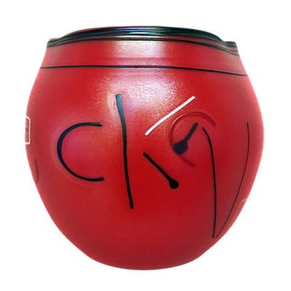 Donald Carlson Large Red Handblown Glass Signed Siletz Basket For Sale